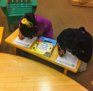 Book Buddies (2nd grade students paired with 5th graders) Barnes & Noble Field Trip: Two 2nd grade girls working on Scavenging the Shelves.