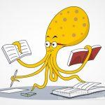 Octopus Performing Many School Tasks Clipart
